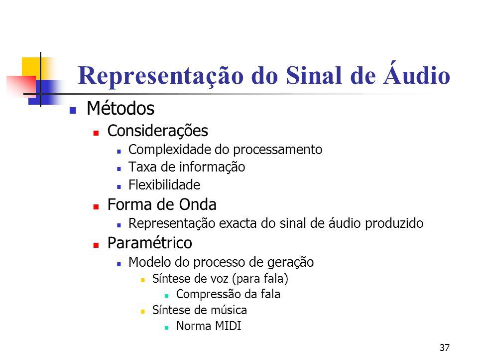 37 Representação do Sinal de Áudio Métodos Considerações Complexidade do processamento Taxa de informação Flexibilidade Forma de Onda Representação ex
