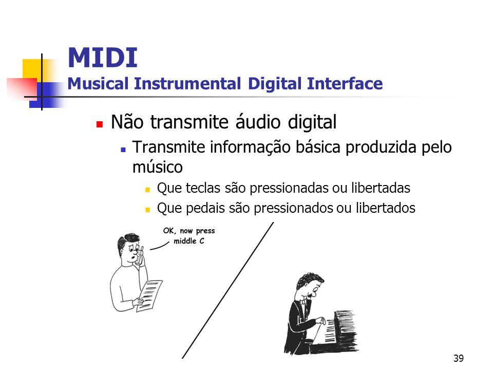 39 MIDI Musical Instrumental Digital Interface Não transmite áudio digital Transmite informação básica produzida pelo músico Que teclas são pressionad