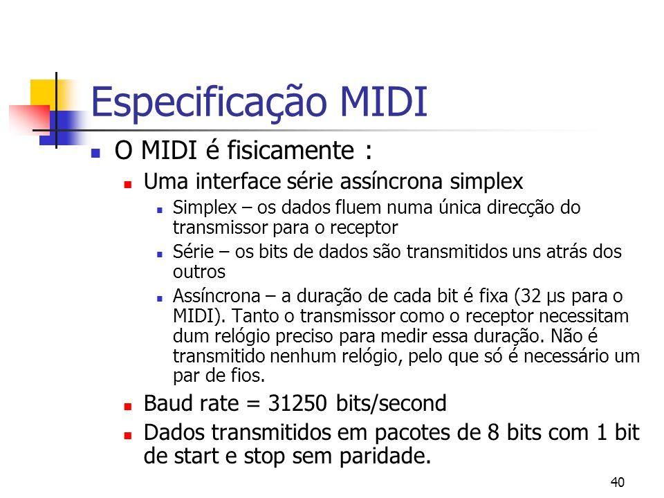 40 Especificação MIDI O MIDI é fisicamente : Uma interface série assíncrona simplex Simplex – os dados fluem numa única direcção do transmissor para o