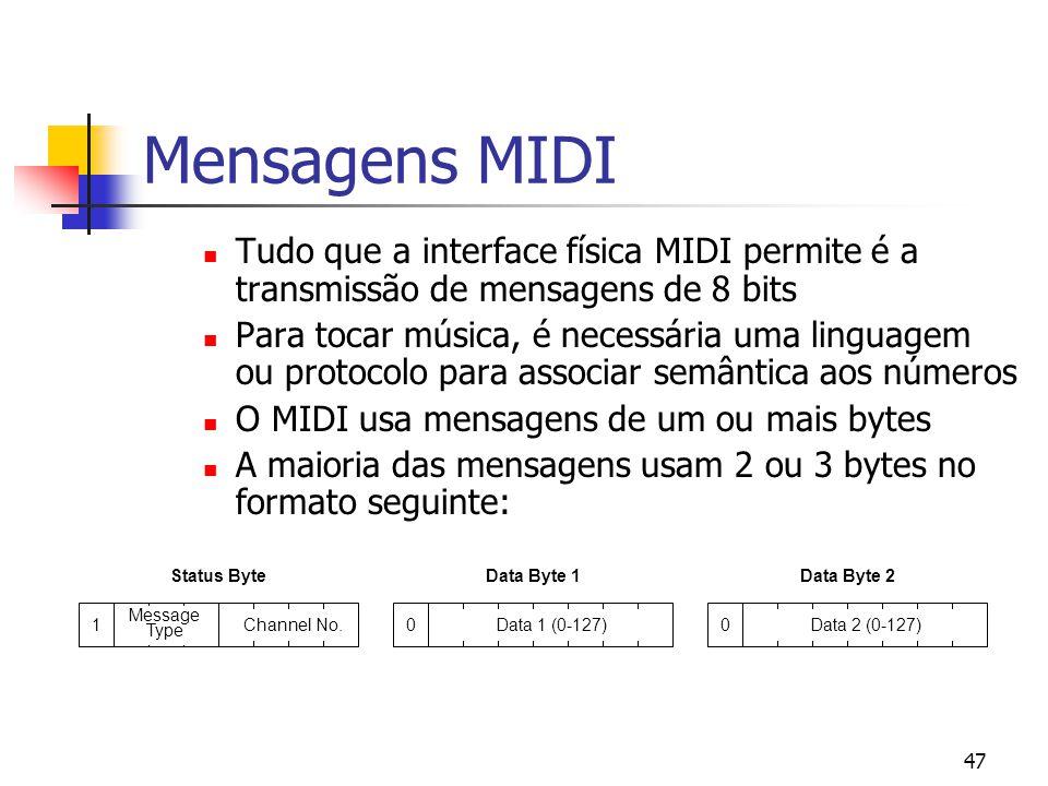 47 Mensagens MIDI Tudo que a interface física MIDI permite é a transmissão de mensagens de 8 bits Para tocar música, é necessária uma linguagem ou pro