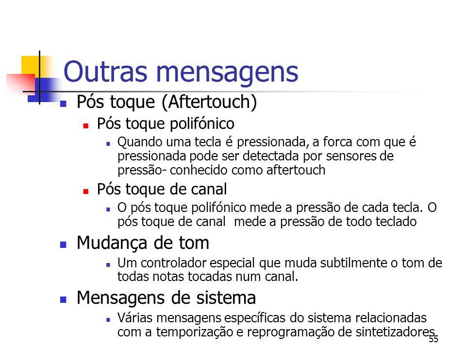 55 Outras mensagens Pós toque (Aftertouch) Pós toque polifónico Quando uma tecla é pressionada, a forca com que é pressionada pode ser detectada por s