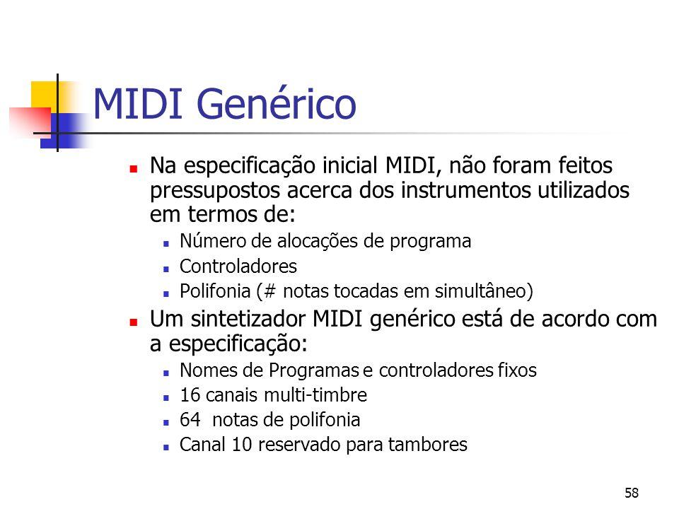 58 MIDI Genérico Na especificação inicial MIDI, não foram feitos pressupostos acerca dos instrumentos utilizados em termos de: Número de alocações de