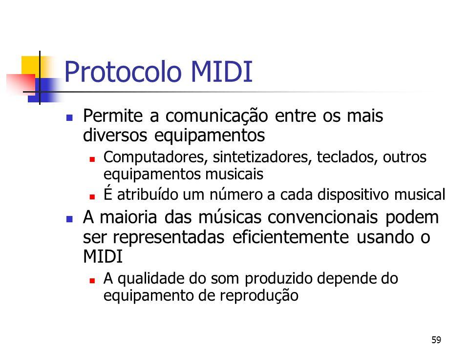59 Protocolo MIDI Permite a comunicação entre os mais diversos equipamentos Computadores, sintetizadores, teclados, outros equipamentos musicais É atr