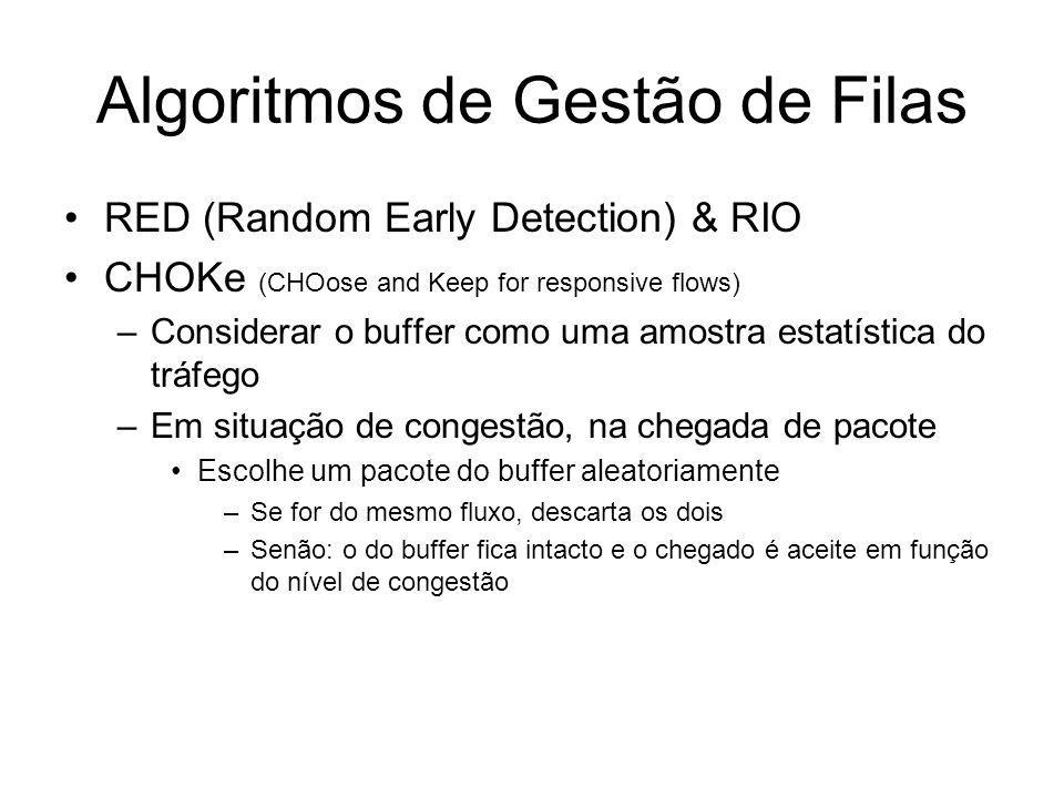 Algoritmos de Escalonamento Fair Queueing (FQ) –1 fila por fluxo (informação de estado por fluxo) Stochastic Fair Queueing (SFQ) –Menor nº de filas qu