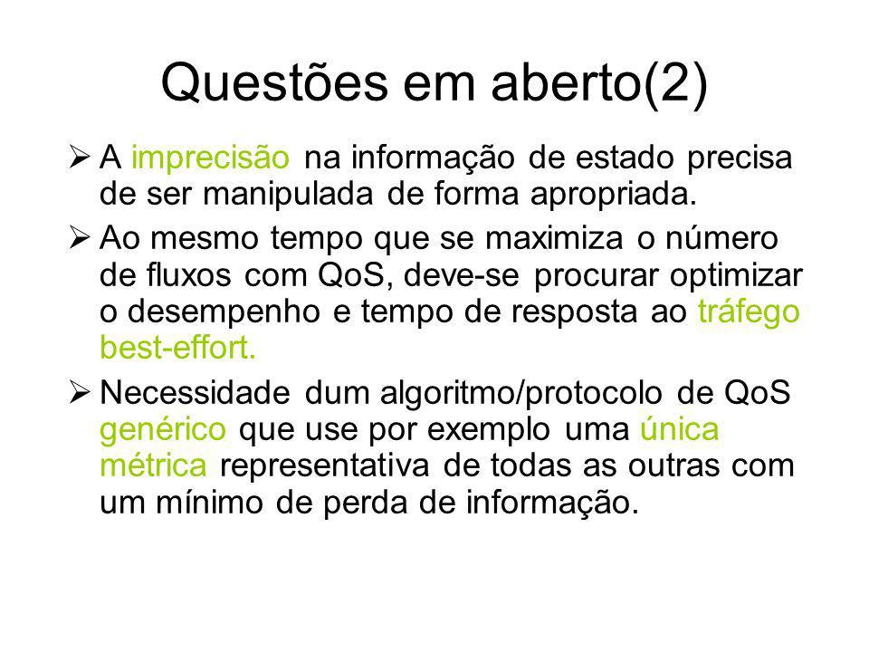 Questões em aberto (1) Necessidade de protocolos para encaminhamento com QoS e técnicas de negociação de QoS normalizados Mecanismos eficientes para e