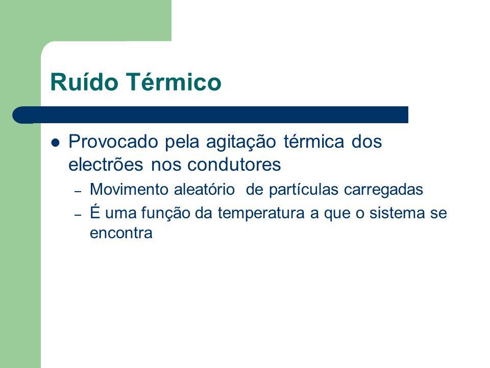 Ruído Térmico Provocado pela agitação térmica dos electrões nos condutores – Movimento aleatório de partículas carregadas – É uma função da temperatur