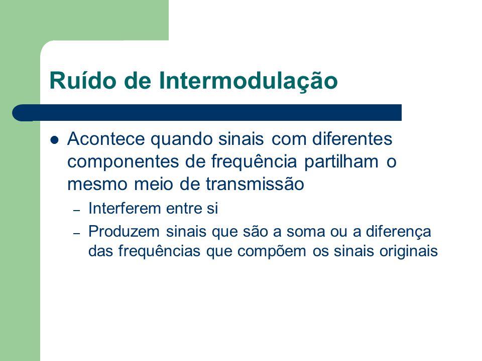 Ruído de Intermodulação Acontece quando sinais com diferentes componentes de frequência partilham o mesmo meio de transmissão – Interferem entre si –