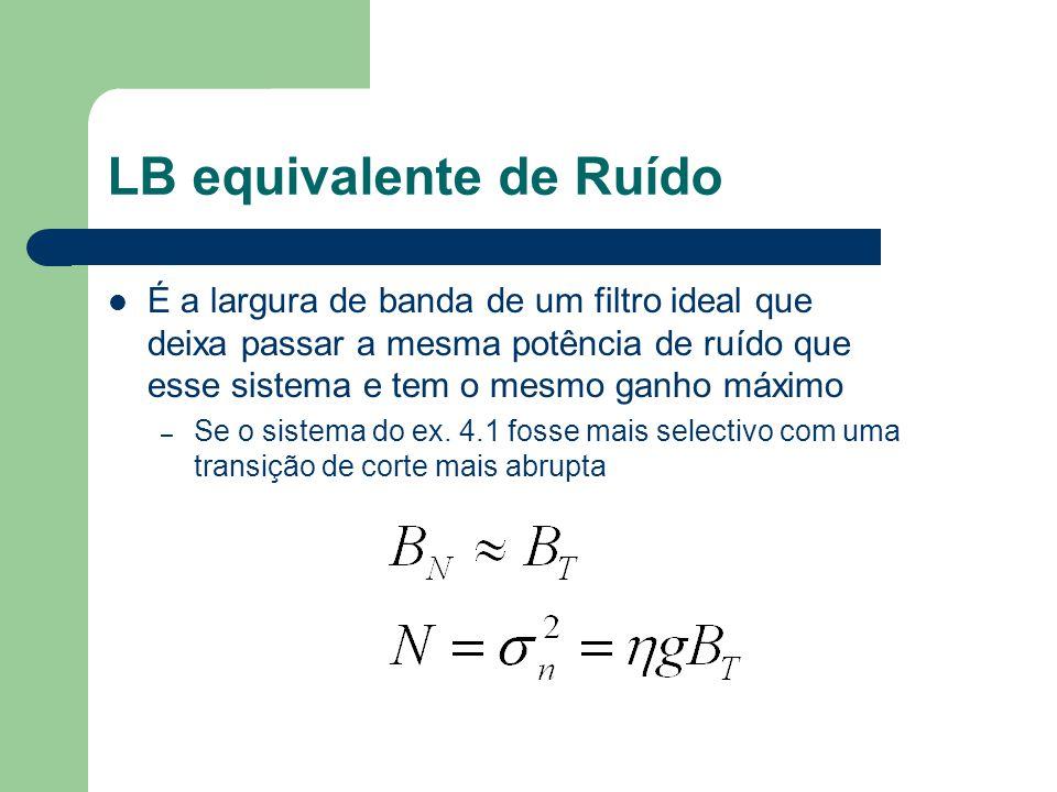 LB equivalente de Ruído É a largura de banda de um filtro ideal que deixa passar a mesma potência de ruído que esse sistema e tem o mesmo ganho máximo