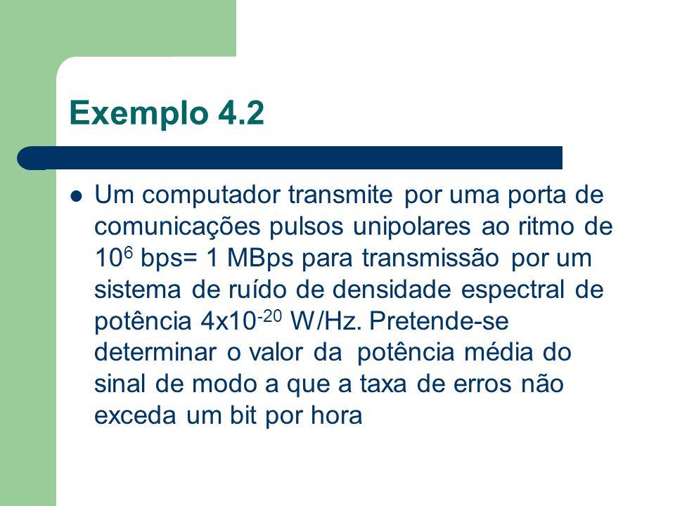Exemplo 4.2 Um computador transmite por uma porta de comunicações pulsos unipolares ao ritmo de 10 6 bps= 1 MBps para transmissão por um sistema de ru