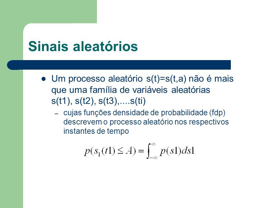 Sinais aleatórios Um processo aleatório s(t)=s(t,a) não é mais que uma família de variáveis aleatórias s(t1), s(t2), s(t3),....s(ti) – cujas funções d