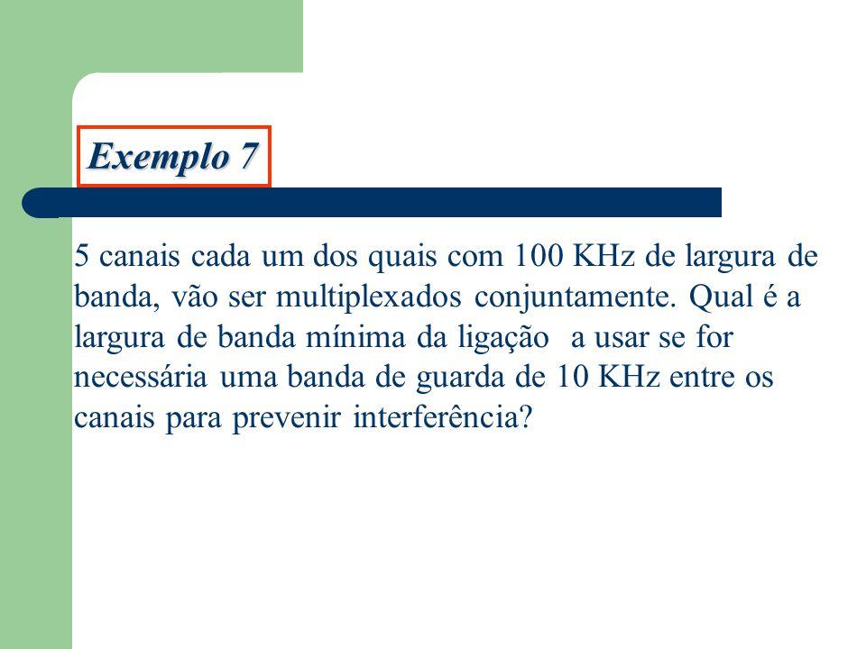 Exemplo 7 5 canais cada um dos quais com 100 KHz de largura de banda, vão ser multiplexados conjuntamente. Qual é a largura de banda mínima da ligação