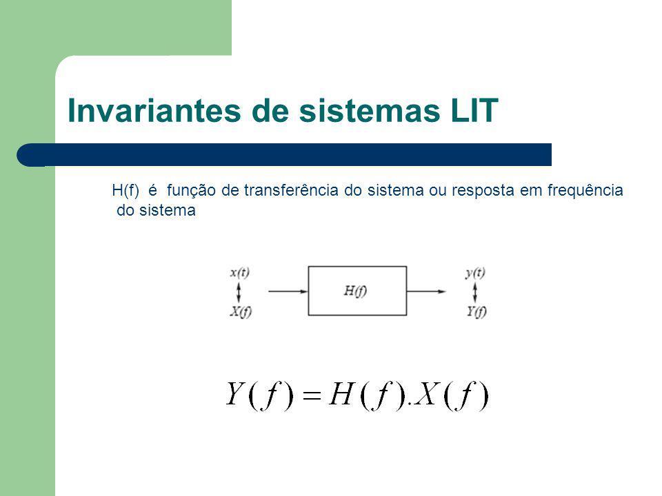 Invariantes de sistemas LIT H(f) é função de transferência do sistema ou resposta em frequência do sistema
