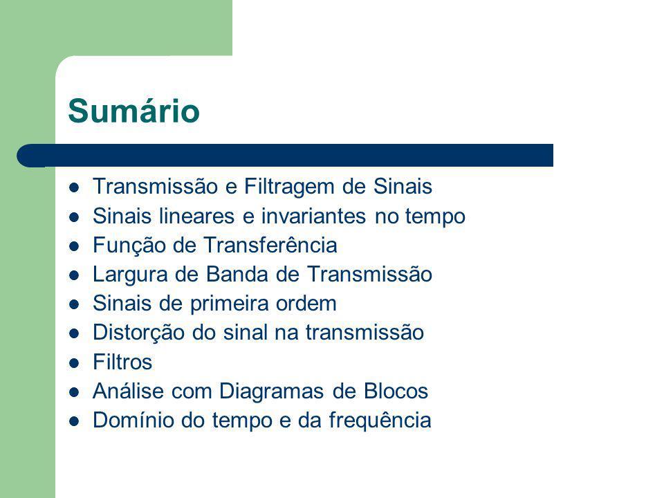 Sumário Transmissão e Filtragem de Sinais Sinais lineares e invariantes no tempo Função de Transferência Largura de Banda de Transmissão Sinais de pri