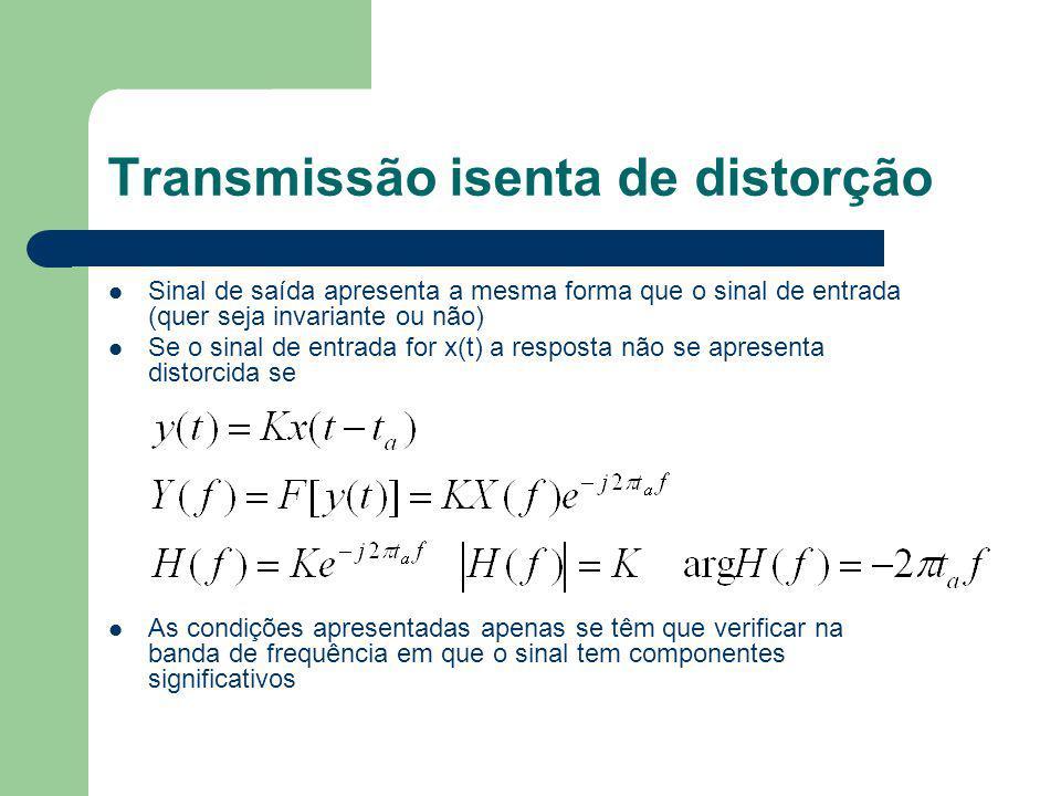 Transmissão isenta de distorção Sinal de saída apresenta a mesma forma que o sinal de entrada (quer seja invariante ou não) Se o sinal de entrada for