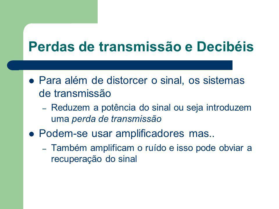 Perdas de transmissão e Decibéis Para além de distorcer o sinal, os sistemas de transmissão – Reduzem a potência do sinal ou seja introduzem uma perda