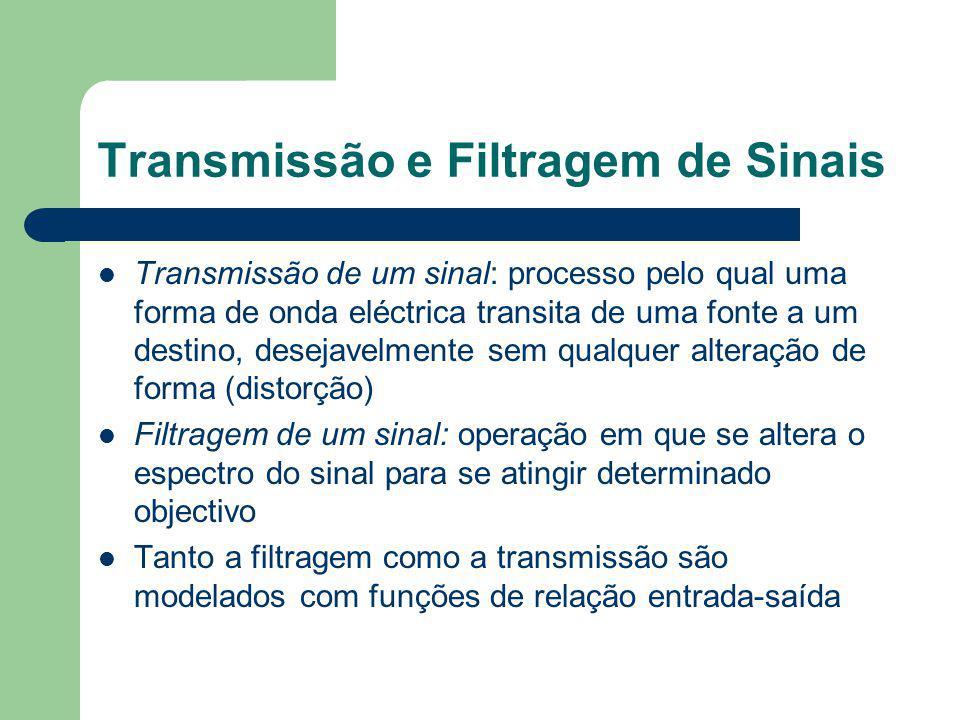 Transmissão e Filtragem de Sinais Transmissão de um sinal: processo pelo qual uma forma de onda eléctrica transita de uma fonte a um destino, desejave