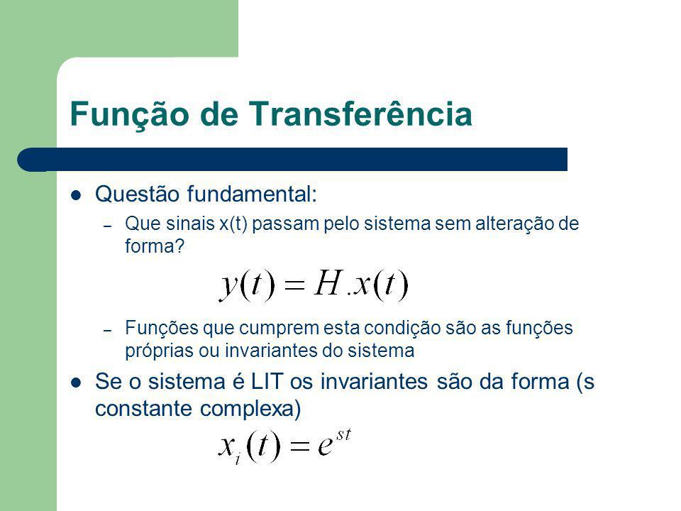 Função de Transferência Questão fundamental: – Que sinais x(t) passam pelo sistema sem alteração de forma? – Funções que cumprem esta condição são as