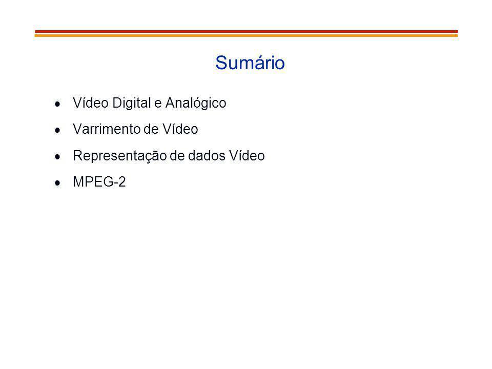 Sumário Vídeo Digital e Analógico Varrimento de Vídeo Representação de dados Vídeo MPEG-2