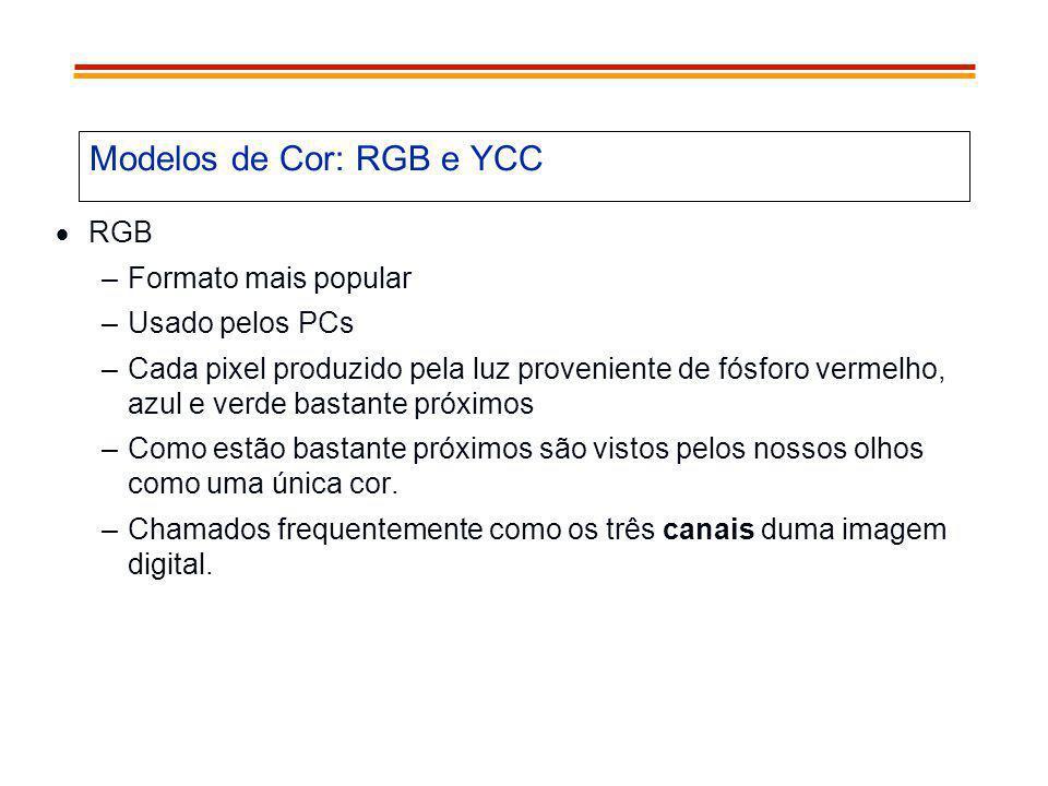 Modelos de Cor: RGB e YCC RGB –Formato mais popular –Usado pelos PCs –Cada pixel produzido pela luz proveniente de fósforo vermelho, azul e verde bast