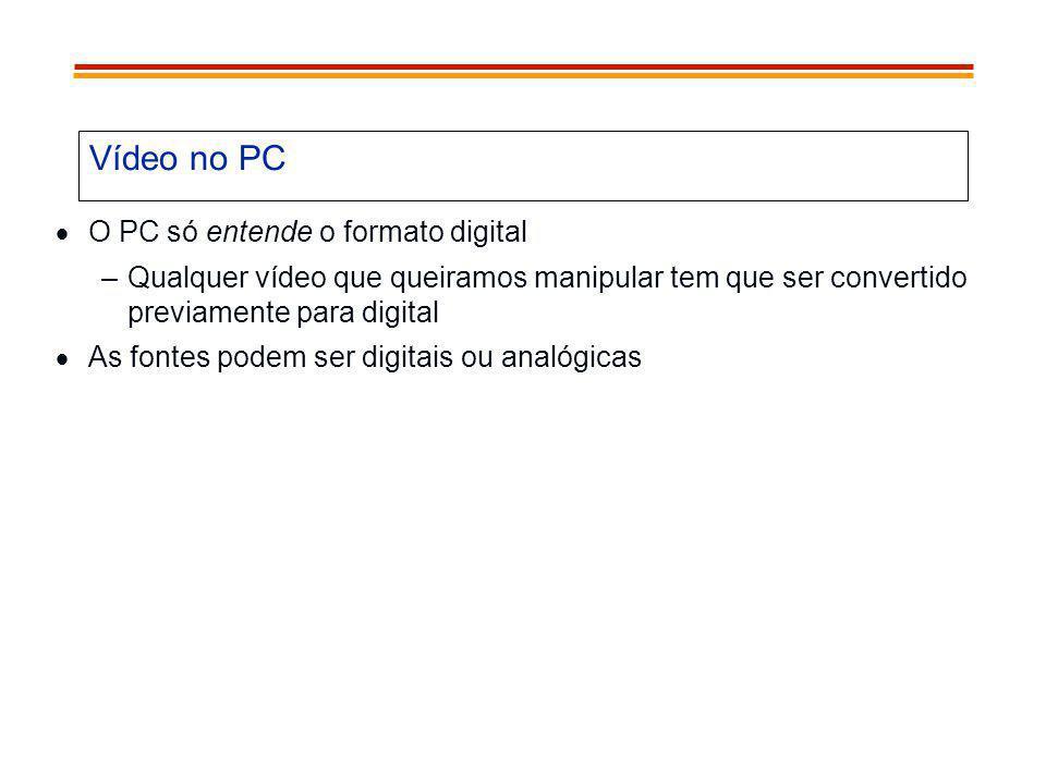 Vídeo no PC O PC só entende o formato digital –Qualquer vídeo que queiramos manipular tem que ser convertido previamente para digital As fontes podem