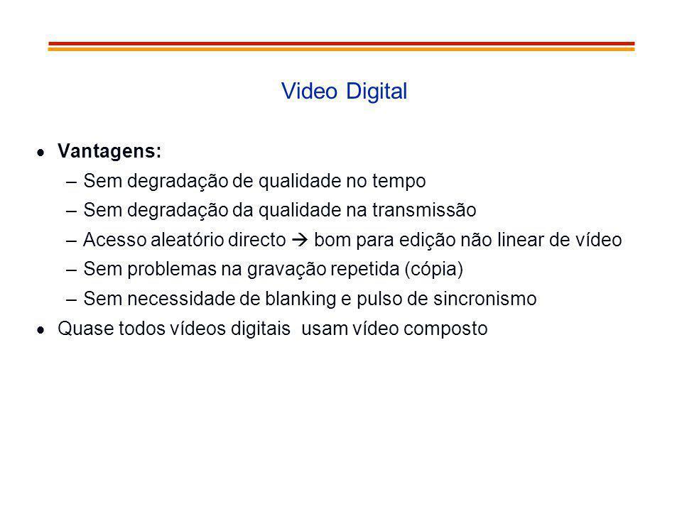 Video Digital Vantagens: –Sem degradação de qualidade no tempo –Sem degradação da qualidade na transmissão –Acesso aleatório directo bom para edição n