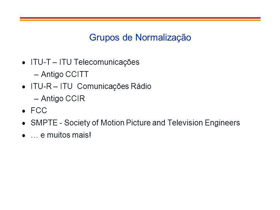Grupos de Normalização ITU-T – ITU Telecomunicações –Antigo CCITT ITU-R – ITU Comunicações Rádio –Antigo CCIR FCC SMPTE - Society of Motion Picture an