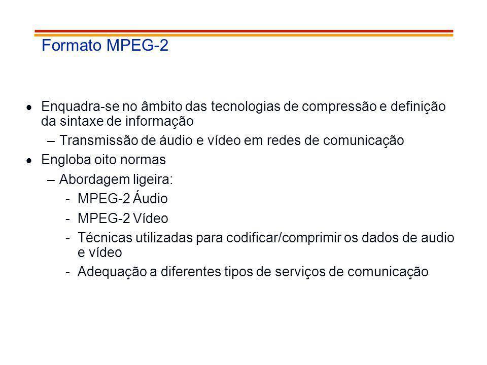 Formato MPEG-2 Enquadra-se no âmbito das tecnologias de compressão e definição da sintaxe de informação –Transmissão de áudio e vídeo em redes de comu