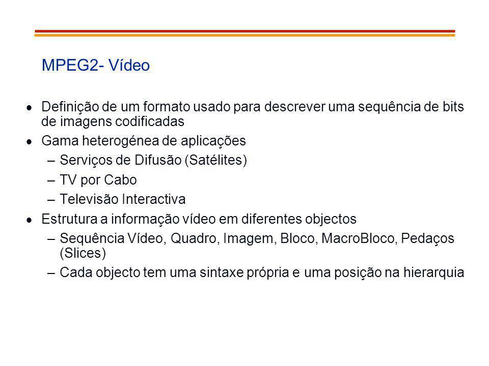 MPEG2- Vídeo Definição de um formato usado para descrever uma sequência de bits de imagens codificadas Gama heterogénea de aplicações –Serviços de Dif