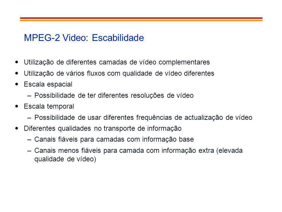 MPEG-2 Video: Escabilidade Utilização de diferentes camadas de vídeo complementares Utilização de vários fluxos com qualidade de vídeo diferentes Esca