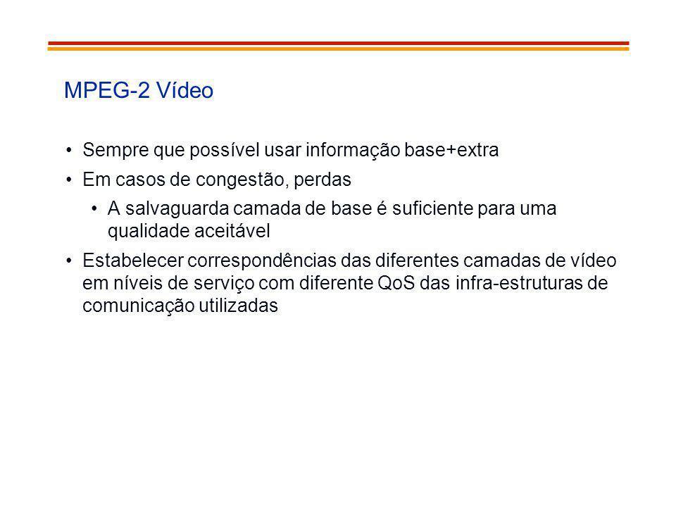 MPEG-2 Vídeo Sempre que possível usar informação base+extra Em casos de congestão, perdas A salvaguarda camada de base é suficiente para uma qualidade