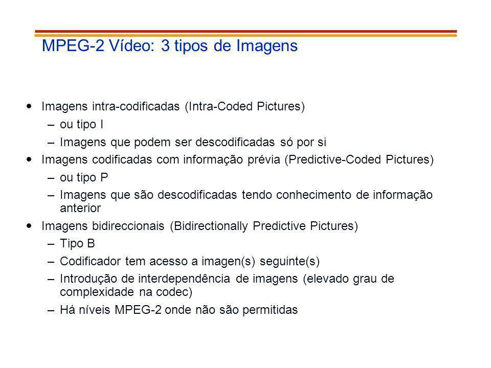 MPEG-2 Vídeo: 3 tipos de Imagens Imagens intra-codificadas (Intra-Coded Pictures) –ou tipo I –Imagens que podem ser descodificadas só por si Imagens c