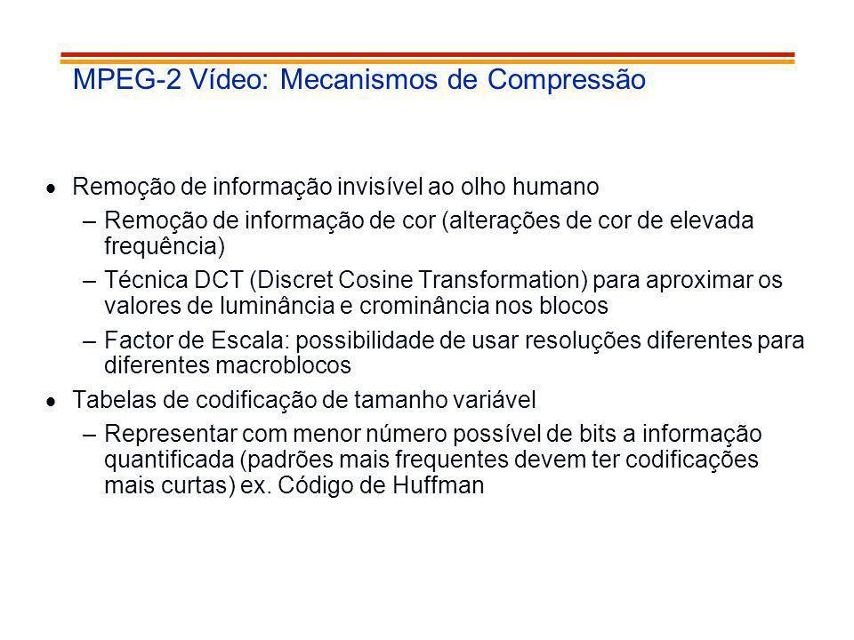 MPEG-2 Vídeo: Mecanismos de Compressão Remoção de informação invisível ao olho humano –Remoção de informação de cor (alterações de cor de elevada freq