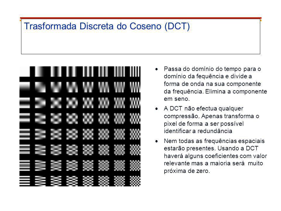 Trasformada Discreta do Coseno (DCT) Passa do domínio do tempo para o domínio da fequência e divide a forma de onda na sua componente da frequência. E