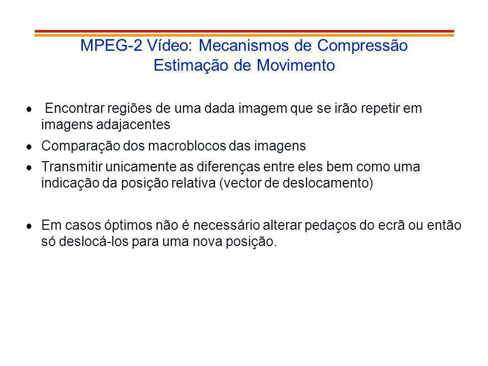 MPEG-2 Vídeo: Mecanismos de Compressão Estimação de Movimento Encontrar regiões de uma dada imagem que se irão repetir em imagens adajacentes Comparaç