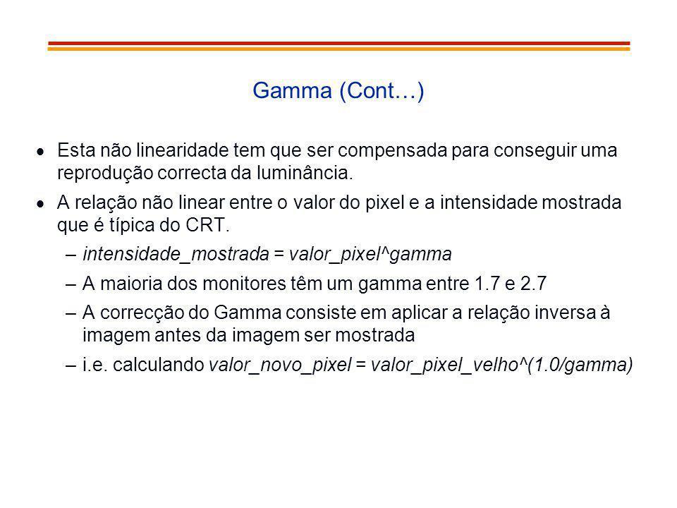 Gamma (Cont…) Esta não linearidade tem que ser compensada para conseguir uma reprodução correcta da luminância. A relação não linear entre o valor do