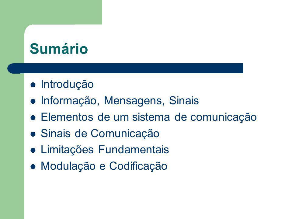 Sumário Introdução Informação, Mensagens, Sinais Elementos de um sistema de comunicação Sinais de Comunicação Limitações Fundamentais Modulação e Codi