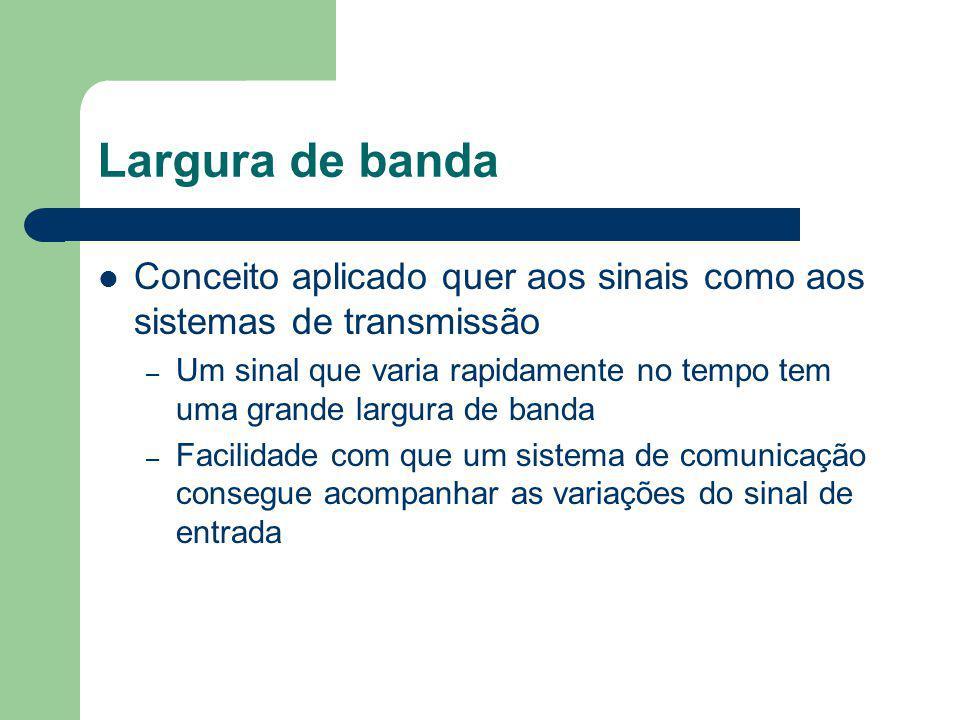 Largura de banda Conceito aplicado quer aos sinais como aos sistemas de transmissão – Um sinal que varia rapidamente no tempo tem uma grande largura d