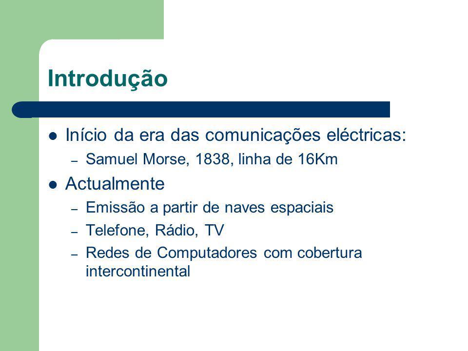 Introdução Início da era das comunicações eléctricas: – Samuel Morse, 1838, linha de 16Km Actualmente – Emissão a partir de naves espaciais – Telefone