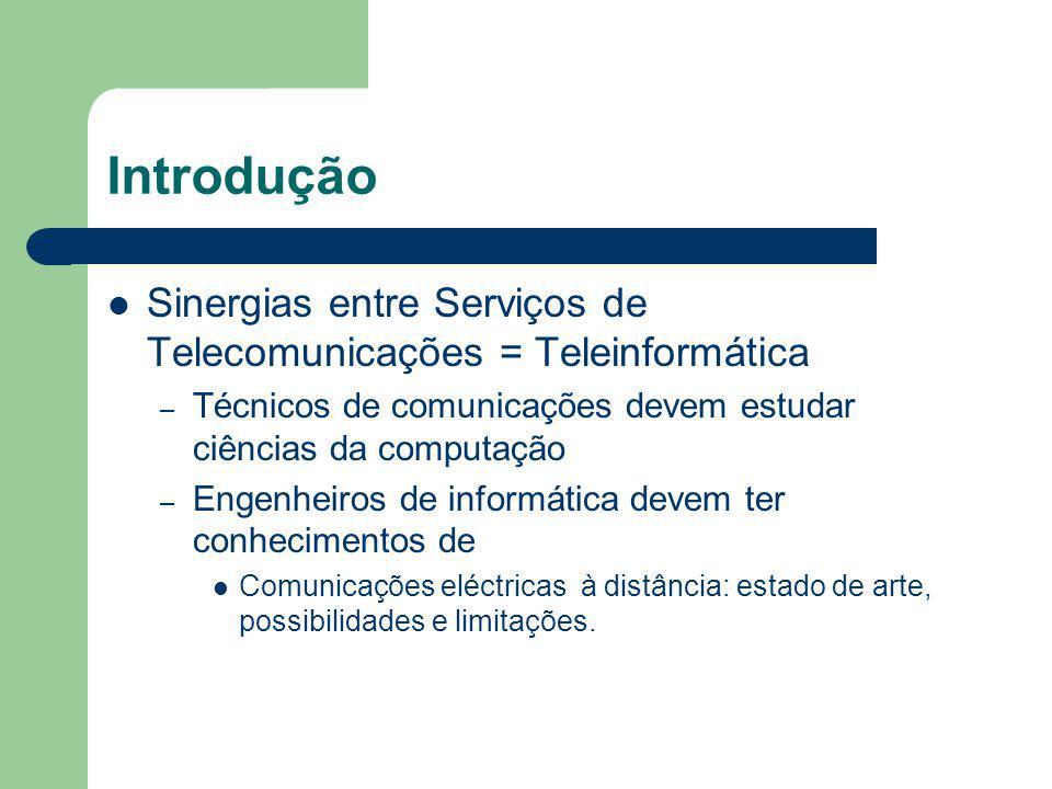 Introdução Sinergias entre Serviços de Telecomunicações = Teleinformática – Técnicos de comunicações devem estudar ciências da computação – Engenheiro