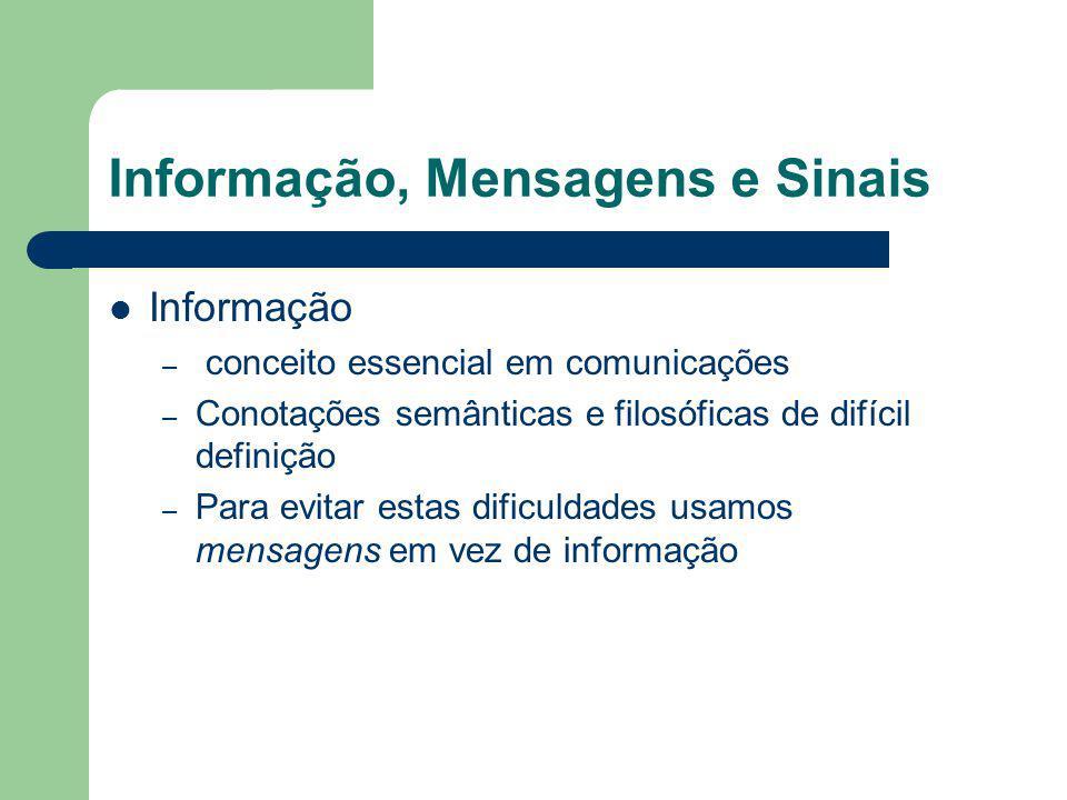Informação, Mensagens e Sinais Informação – conceito essencial em comunicações – Conotações semânticas e filosóficas de difícil definição – Para evita