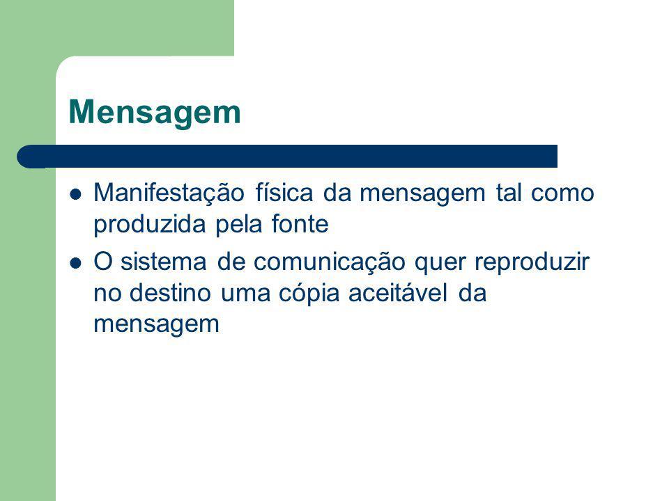 Mensagem Manifestação física da mensagem tal como produzida pela fonte O sistema de comunicação quer reproduzir no destino uma cópia aceitável da mens