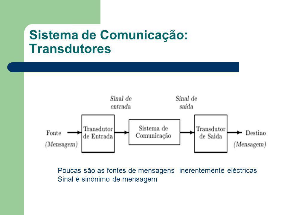 Sistema de Comunicação: Transdutores Poucas são as fontes de mensagens inerentemente eléctricas Sinal é sinónimo de mensagem