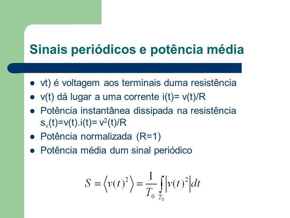 vt) é voltagem aos terminais duma resistência v(t) dá lugar a uma corrente i(t)= v(t)/R Potência instantânea dissipada na resistência s v (t)=v(t).i(t