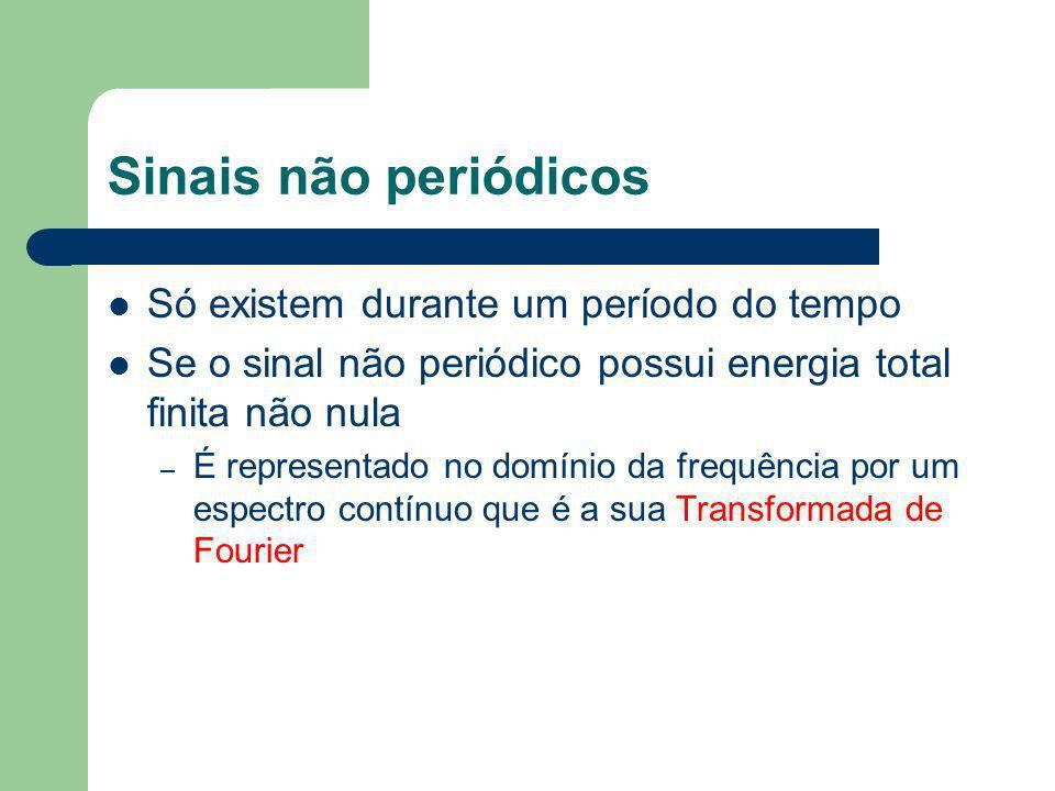 Sinais não periódicos Só existem durante um período do tempo Se o sinal não periódico possui energia total finita não nula – É representado no domínio