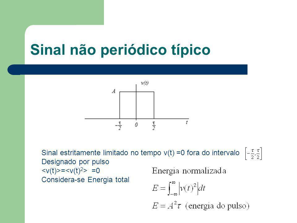 Sinal não periódico típico Sinal estritamente limitado no tempo v(t) =0 fora do intervalo Designado por pulso = =0 Considera-se Energia total