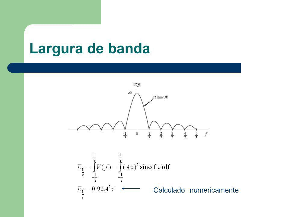 Largura de banda Calculado numericamente
