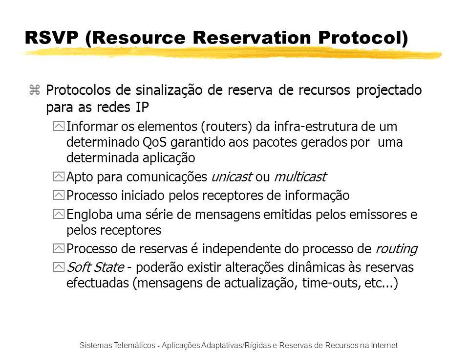 Sistemas Telemáticos - Aplicações Adaptativas/Rígidas e Reservas de Recursos na Internet RSVP (Resource Reservation Protocol) zProtocolos de sinalizaç