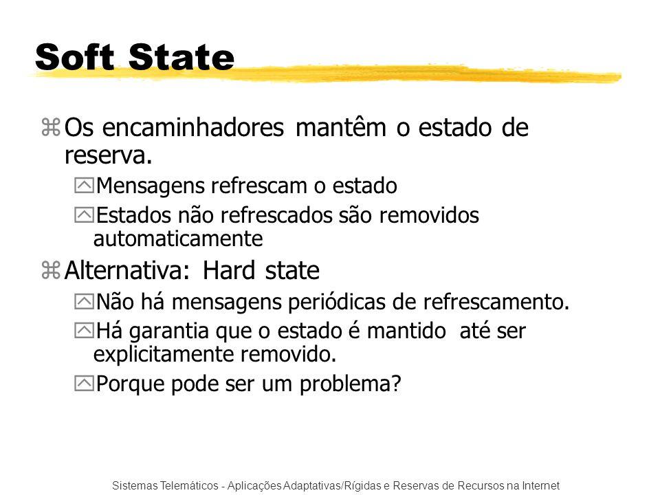 Sistemas Telemáticos - Aplicações Adaptativas/Rígidas e Reservas de Recursos na Internet Soft State zOs encaminhadores mantêm o estado de reserva. yMe