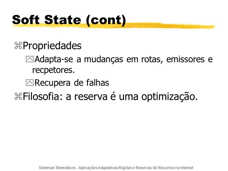 Sistemas Telemáticos - Aplicações Adaptativas/Rígidas e Reservas de Recursos na Internet Soft State (cont) zPropriedades yAdapta-se a mudanças em rota
