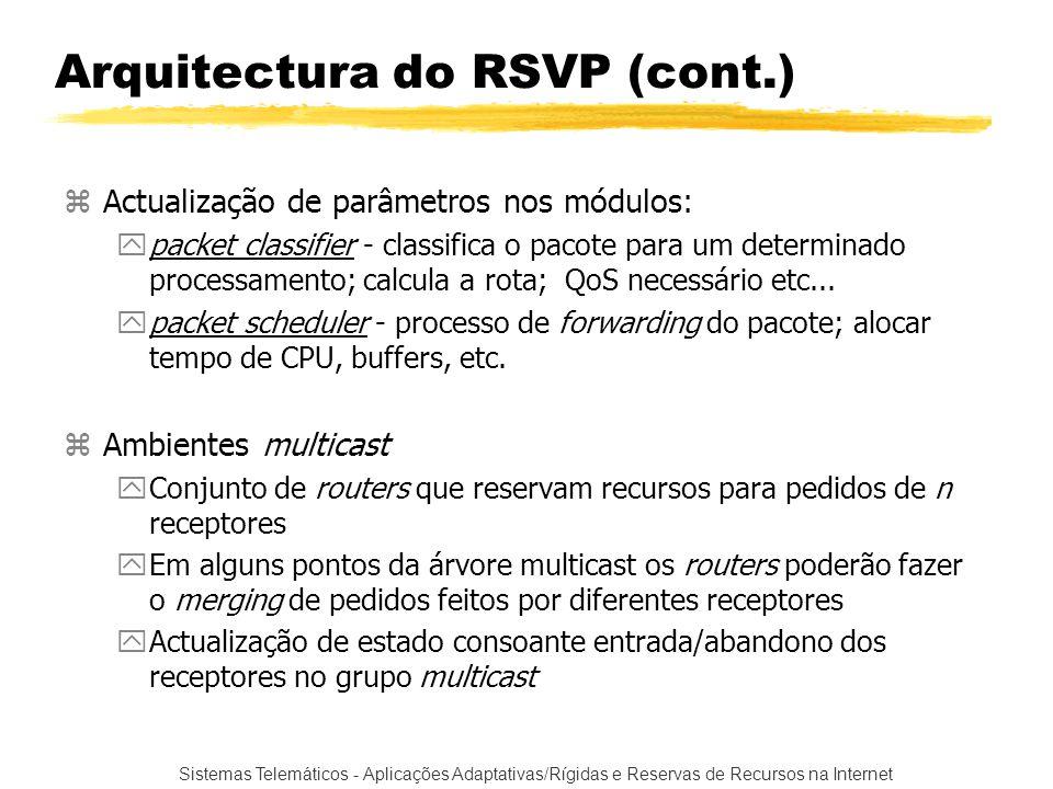 Sistemas Telemáticos - Aplicações Adaptativas/Rígidas e Reservas de Recursos na Internet zActualização de parâmetros nos módulos: ypacket classifier -